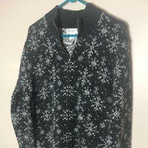 Jones NY Sport snowflake sweater XL gray